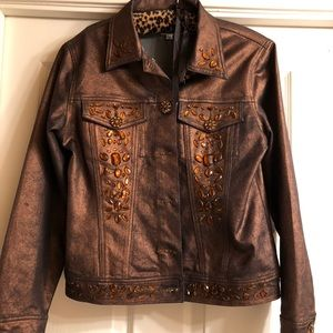 Bronze denim jacket with jeweled buttons
